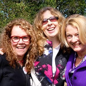 Host JoAnn Loulan, Laure Woods, and Ginny Sjoberg